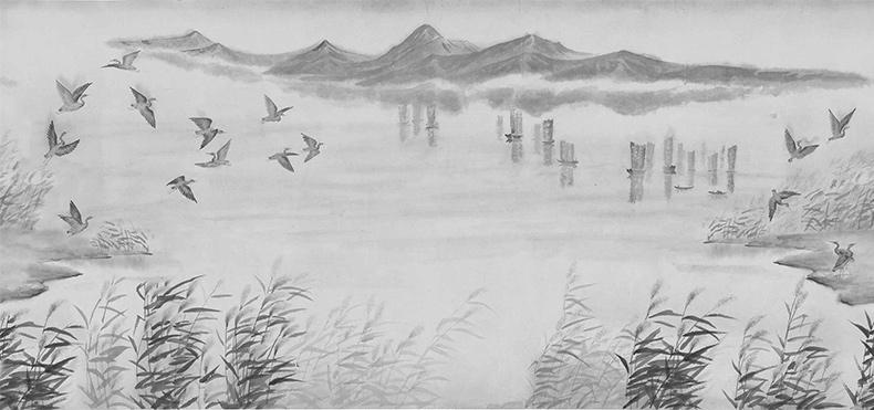 白鹭工笔画_《渔歌白鹭》描绘湖光山色的写意山水画 – versedeco